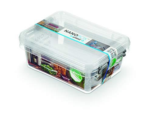 Orplast NanoBox 2 x 1,15L Set Antibakterielle Aufbewahrungsbox Kühlschrankbox Lebensmittelbox Medikamentenbox Arzneibox Hygienisch Nanosilber Behälter Steril Box, Transparent