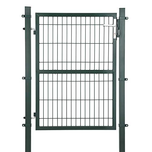 SONGMICS Gartentor aus verzinktem Stahl, Gartentür, Zauntor, Hoftor, mit Schloss, Türklinke und Schlüssel, 106 x 125 cm (L x H), grün GGD175L