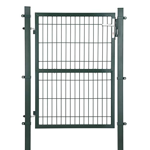 SONGMICS Gartentor aus verzinktem Stahl robust und langlebig mit Schloss und Schlüssel Tormaße: 125 x 106 cm Grün GGD175L