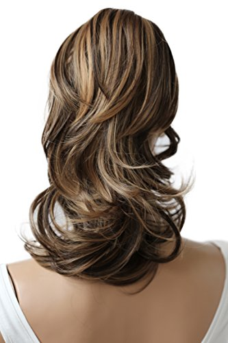 PRETTYSHOP 30cm Haarteil Zopf Pferdeschwanz Haarverlängerung Voluminös Gewellt Braun Mix H59b