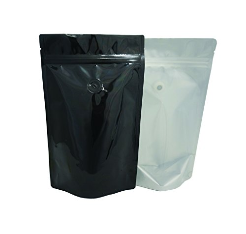 For Sale! 8 oz. Clear Poly/Black Foil Stand Up Zip Pouch w/ Valve (Coffee Packaging, Tea Packaging, ...