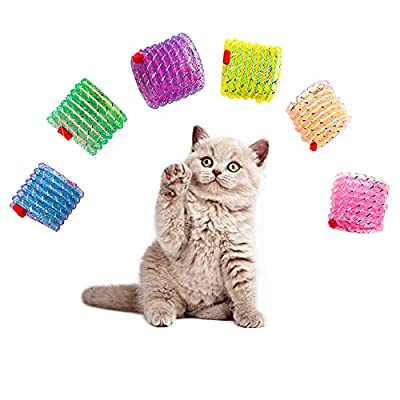 JpGdn 6Pcs Cat Spring Toys Interactive Colorful Coil Tube Teething Toys for Kitten Pet Action Jumping Keep Fit Stretchable & Flexible Indoor Cats Play Toy Random Color