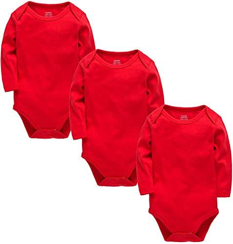 Body de manga larga para bebé recién nacido hasta 24 meses Rojo rosso 18-24 Meses