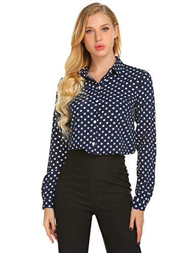 Zeagoo Women's Long Sleeve Casual Polka Dot Button Up Office Blouse Shirt Top,Blue,Large