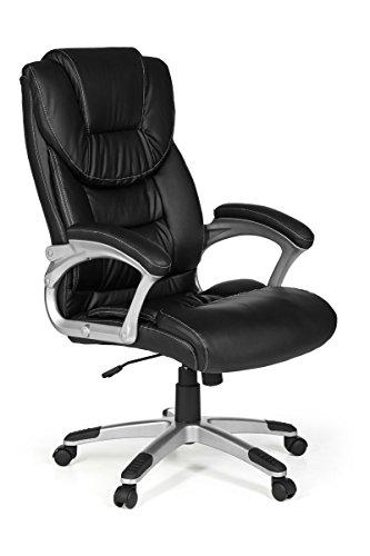 FineBuy Bürostuhl Mady Kunstleder Schwarz ergonomisch mit Kopfstütze | Design Chefsessel Schreibtischstuhl mit Wippfunktion | Drehstuhl hohe Rücken-Lehne X-XL 120 kg