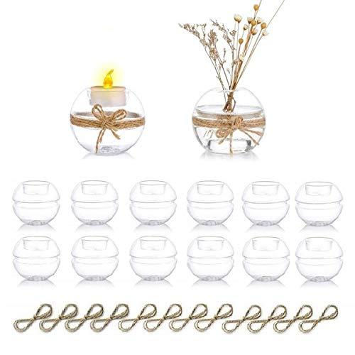Nuptio Portavelas Tealight de Vidrio Transparente de 12 Piezas, 2 Tipos de Uso Portavelas Votivo, Decoración de Mesa Regalo Ideal para Bodas, Fiestas, Eventos