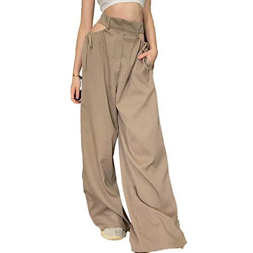 Qtinghua Women's High Waist Hollow-out Drawstring Pants Y2k Ruched Bandage Sweatpants Sexy Streetwear (Khaki, S)