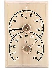 Socobeta Termómetro para Sala de Sauna Multifuncional Madera Buena dureza Monitor de Humedad Medidor de Temperatura Digital para baños Salas de Sauna