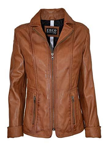 COCO BLACK LABEL since1986 Damen Lederjacke Sandra mit Reverskragen im Klassischem Designe, Farbe:Cognac Braun, Größe:48