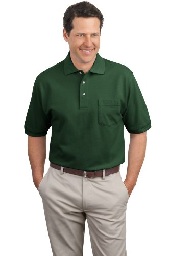 Camisa polo masculina de malha piquet Port Authority com bolso, Dark Green, Small