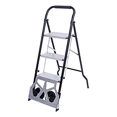 Tenozek 3 Step Stool Aluminum Ladder Portable F...