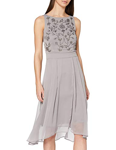 ESPRIT Collection Damen 020EO1E323 Cocktailkleid, Grau (Grau 030), 38