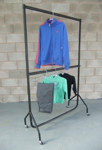 The Shopfitting Shop Double portant à vêtements robuste avec rail intermédiaire réglable 152 x 183 cm