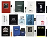 Designer Fragrance Sampler for Men - Lot x 12 Cologne Vials with Two Deluxe Miniature Bottles