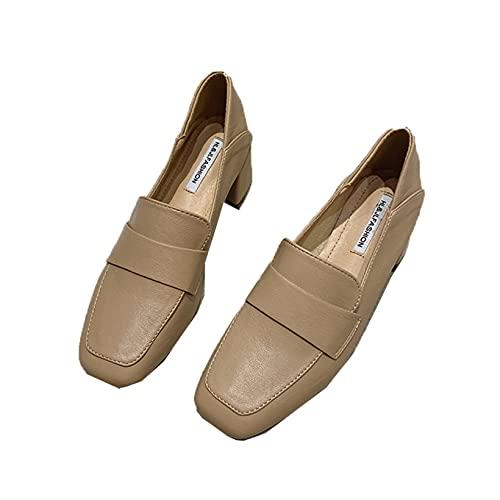 Zapatos de Corte para Mujer Zapatos clásicos de Cuero Transpirable de Corte bajo sin Cordones Zapatos de tacón de Bloque Medio de Punta Cuadrada de Moda Zapatos de Color sólido