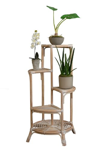 Korb-Outlet Blumenständer/Blumensäule aus Rattan Farbe Weiss gewaschen DE