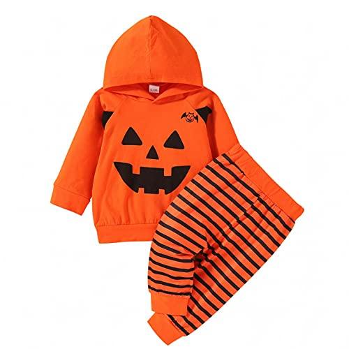 Halloween Kostüm Kinder 0-2Y Neue Baby Jungen und Mädchen Anzug Baumwolle bedruckt Halloween Kürbis Kapuzen langärmeliges Hemd+Hose zweiteiliger Anzug für Kleinkind Baby Mädchen jungen Junge New