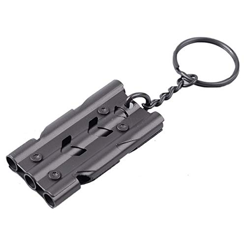 OYPY Triple Tuyau Haute Decibel Outdoor d'urgence SOS Sifflet Keychain Portable EDC Outil extérieur Sifflet de Survie Cheerleading Whistle (Color : Black)