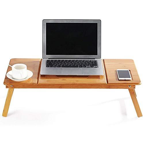 HYY-AA Cama portátil bandeja de cama Tabla, Tabla de bambú portátil Lap ajustable bandeja de gran Size Bandeja for servir desayuno Tabla plegable portátil del escritorio del ordenador (Color: Natural,