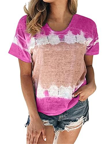 Blusa Mujer Moda Cómodo Verano Cuello Redondo Mujer T-Shirt Simplicidad Exquisito Empalme Contraste Color Diseño Diario Casual Suelto Transpirable All-Match Mujer Manga Corta H-Rose Wine M