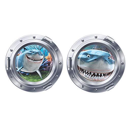 Runtoo Pegatinas de Pared Tiburón 3D Stickers Adhesivos Vinilo Submarino Peces Decorativas Baños Infantiles Habitacion Bebe