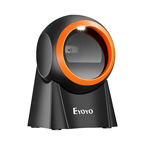 Eyoyo 1D 2D QR Scanner di codici a barre desktop con grande finestra di scansione, lettore di codici a barre a mani libere Scanner con piattaforma di scansione dello schermo QR per magazzino, PC