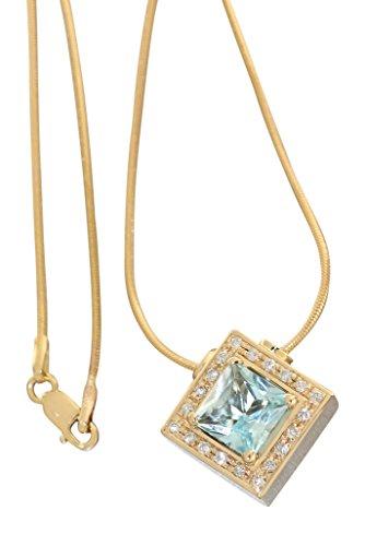 Hobra-Gold Collier - goud 585 met briljant en blauw topper - gouden ketting collierketting