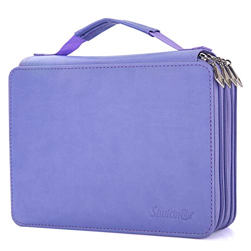 Shulaner 184 Slots Pencil Case Large Capacity Portable Zipper Pencil Holder Organizer for Colored Pencil, Watercolor Pencils or Ordinary Pencils, Purple