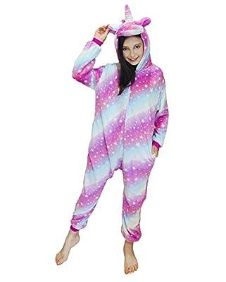 DRESHOW Unicornio Pijamas de un Pieza para Niños Niñas, Unicornio Pijama Ropa de Dormir Invierno de Cosplay Pyjamas Navidad Onsie Regalos para Chicos Chicas