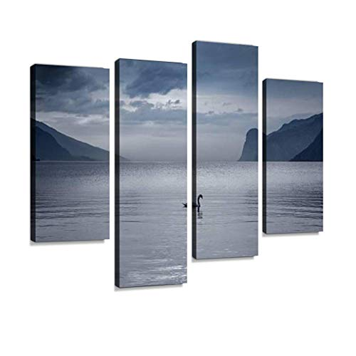 HIPOLOTUS 4 Panel Canvas Pictures Lake Garda in Italy swan Swimming into The Lake Mountain Lake Wall Art Prints Paintings Stretched & Framed Poster Home Living Room Decoration Ready to Hang