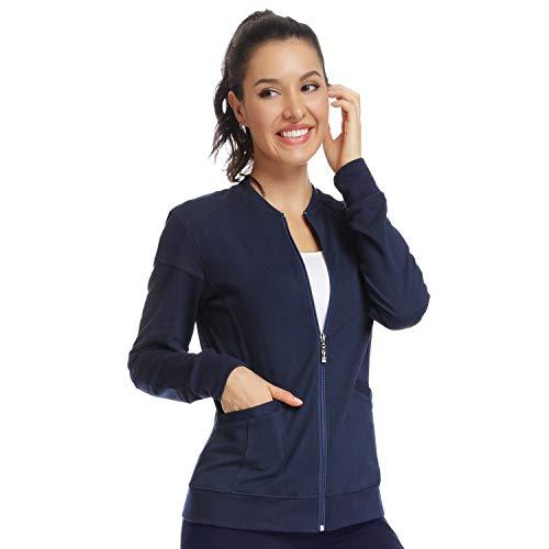 JEYONG Women's Zip Front Warm-Up Jacket Navy Blue