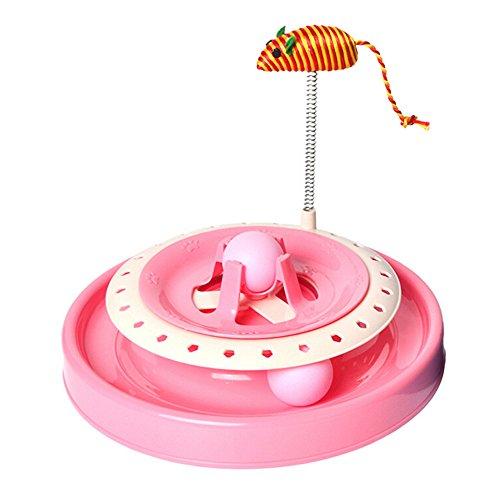 Yowablo Katze Plattenspieler Spielzeug Katze Puzzle verrückt Spielen Scheibe Frühling Maus Katzenspielzeug (25.3 * 20cm,Rosa)