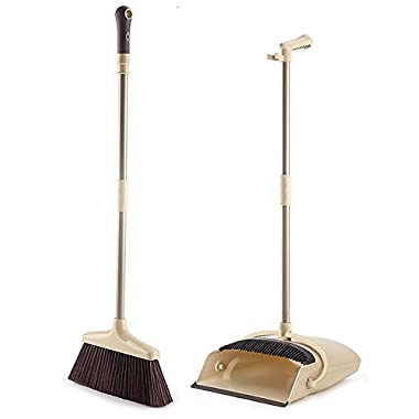 Broom and Dustpan set, ALLCR Grips Sweep Set with Lobby Broom, Dustpan and Brush Set for Sweeping Office or Home(Brown)