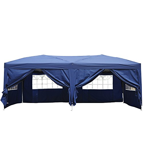 Outsunny Carpa 6x3 m Plegable en Acordeon 4 Paneles Laterales 2 Cortinas +Bolsa Transporte Azul