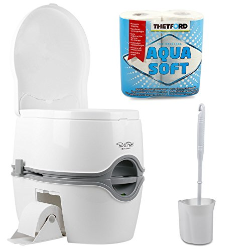 Thetford Porta Potti Excellence (565P) Campingtoilette 21 Ltr Tank Set mit natürlicher Sitzhöhe + Fiamma Toilettenbürste Aquasoft