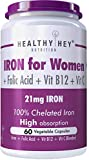 HealthyHey Iron Supplement for Women -100% Chelated - With Vitamin B12, Folic Acid