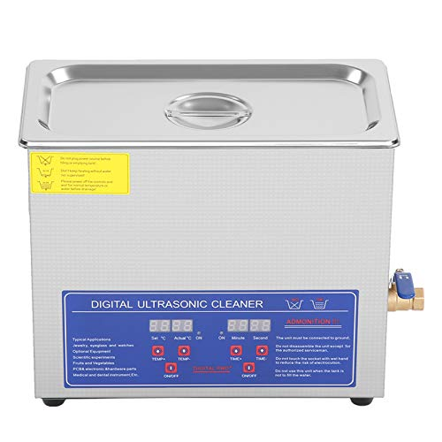 Digital Ultrasonic Cleaner, Industrial Ultrasonic Stainless Steel Heated Cleaner Tank Timer For Scientific Lab, Electronics Manufacturing Jewellery Commodities Watches (6L)