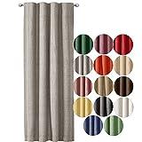 JEMIDI Cortina decorativa con aspecto de lino con cinta fruncida, 140 cm x 245 cm, opaca, cortina para ventana, color gris claro