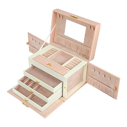 Boîte à bijoux, Meerveil Boîte à trois couches pour le stockage et le rangement de bijoux en PU, à quatre couches, femme, festival, Cadeau de fête (Rose)
