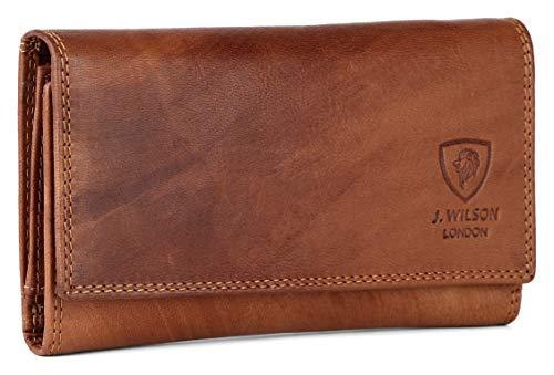 Luxe RFID-portemonnee voor dames, van echt leer, met meerdere creditcardvakjes en ritssluiting
