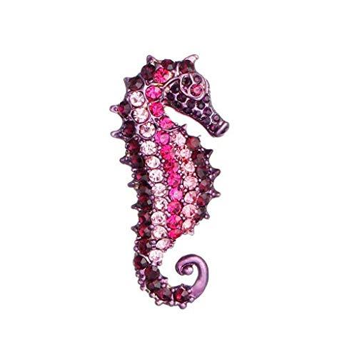 noyydh Broche de hipocampo for Mujer, Viento Marino, engastado con Diamantes de Color Artificial, Vestido de suéter, Joyas de Cofre, for la Fiesta, Bodas, Ocio (Color : Purple)