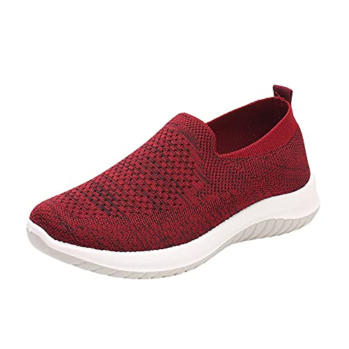 Togethor Zapatillas deportivas para mujer, zapatillas de deporte sin cordones, para caminar, para mujer, para correr, para mujer, rosso, 5.5 UK