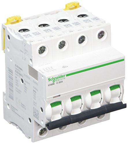 Schneider Electric a9°F74432iC60N DC, acti9, curvatura C, 4P, 85mm altezza X 72mm larghezza X 78.5mm profondità, 32A corrente, 50/60HZ, Bianco