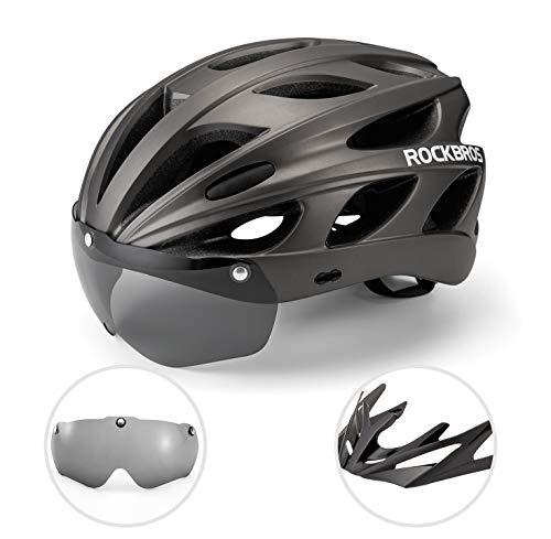 ROCKBROS Fahrradhelm MTB Rennrad Radhelm Integriert mit Abnehmbaren Magnet Brillen Visier Größe Verstellbar 57-62CM Ultraleicht 281g (Titan)