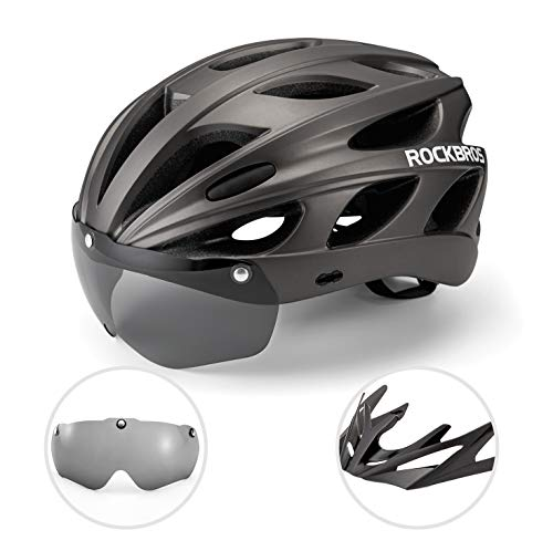 ROCKBROS Casco de Bicicleta MTB Montaña con Visera Magnética Desmontable para Adulto...