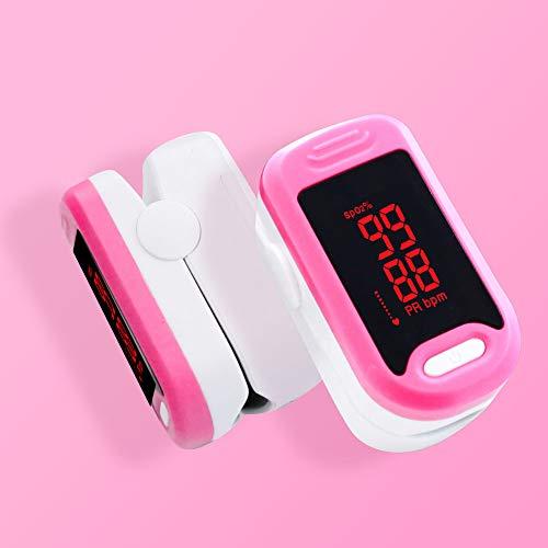 LOY Tragbares Pulsoximeter-Blutsauerstoffsättigungsmessgerät mit Fingerspitze und Trageband für den Sport im Gesundheitswesen,Pink