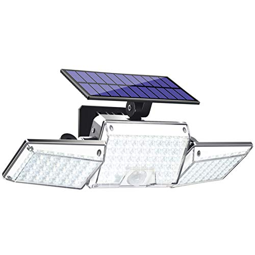 JosMega Upgraded Larger 130 LED Solar Powered Motion Sensor Flood Security Wall Lights Outdoor IP65 Waterproof 3 Head 360° Adjustable Spotlights for Porch Garden Patio Yard Garage Pathway 1 Pack