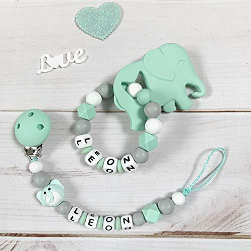 Schnullerkette Nuckelkette Beißring Greifring Greifling mit Namen Silikon Set elefant mint grau