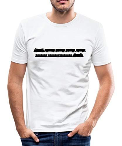 Zug Züge Eisenbahner Modelleisenbahn Männer Slim Fit T-Shirt, L, Weiß