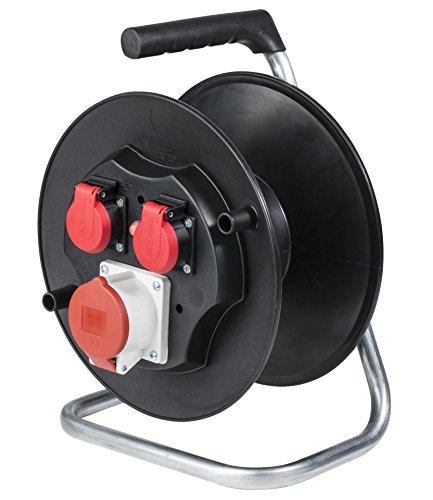 as - Schwabe Sicherheits-Leertrommel – Kabeltrommel für max. 25 m Kabel – 1 CEE- & 2 Schutzkontakt-Steckdosen mit Klappdeckel – IP44 – Made in Germany – Schwarz I 10150